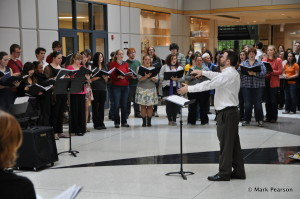 conducting the combined Earlham Choirs at Homecoming, October 2011