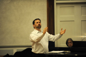 in rehearsal for the Earlham Christmas Candlelight Service, December 2011