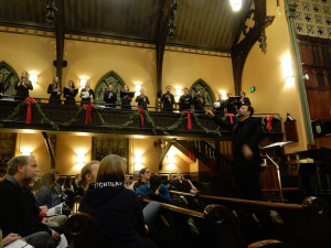 conducting Earlham choirs in Eriks Esenvalds' Stars on tour in Evanston, January 2016