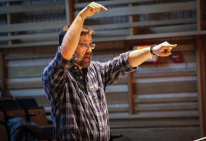 a dramatic moment in an Earlham Messiah rehearsal, spring 2015