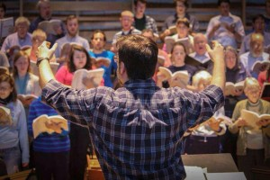 rehearsing Handel's Messiah at Earlham, spring 2015