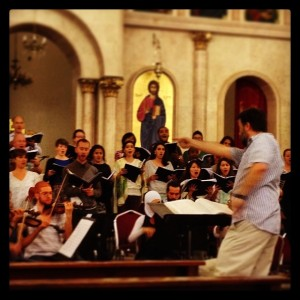 rehearsing Handel's Messiah in Amman, Jordan, June 2014
