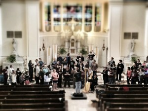 conducting a Requiem rehearsal at St. Mary's in Richmond, April 2012