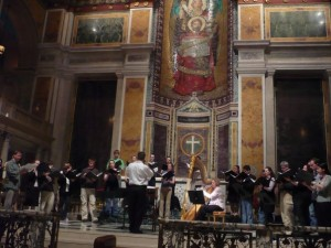 conducting a Requiem rehearsal at St. Matthew's Cathedral, May 2008