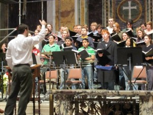 conducting a rehearsal of David Arbury's Trade Winds at St. Matthew's Cathedral, January 2010